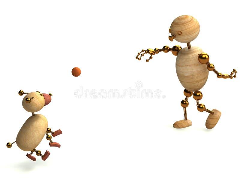 piłki psa mężczyzna bawić się drewno ilustracji