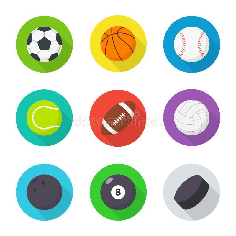 piłki ustawiający sporty Mieszkanie, kreskówek piłki ilustracji