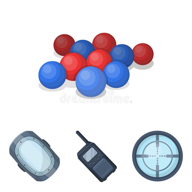 Piłki z farbą i innym wyposażeniem Paintball pojedyncza ikona w kreskówka stylu ilustracja wektor