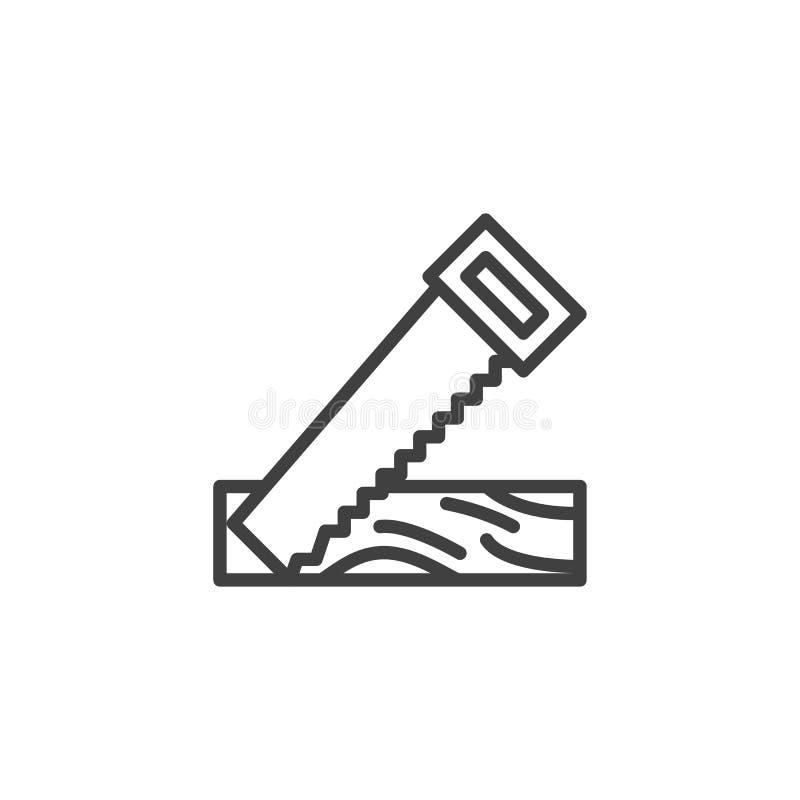 Piłować drewnianą deski linii ikonę ilustracja wektor