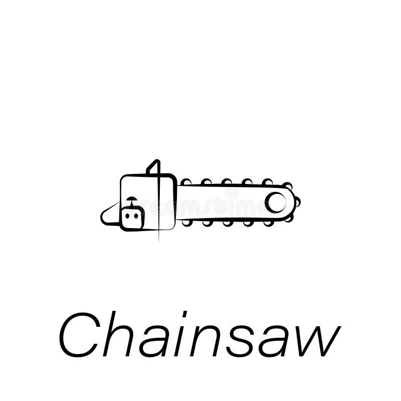 Piły łańcuchowej ręki remisu ikona Element uprawiać ziemię ilustracyjne ikony Znaki i symbole mogą używać dla sieci, logo, mobiln ilustracja wektor