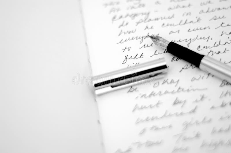piśmie pamiętnika pióra zdjęcie stock