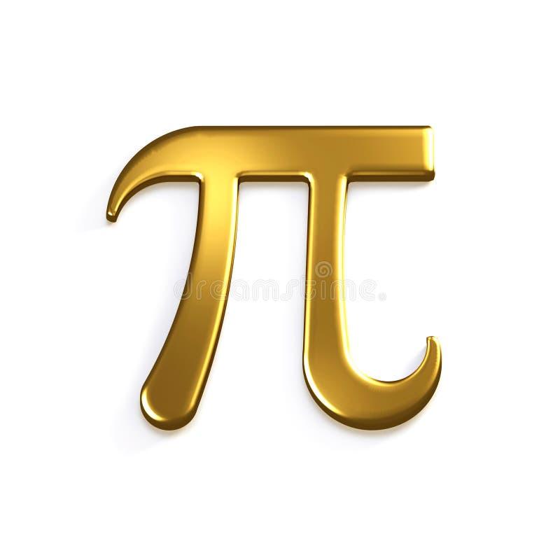 Pi-Aantal Gouden Wiskundig Symbool 3d geef illustratie terug stock illustratie