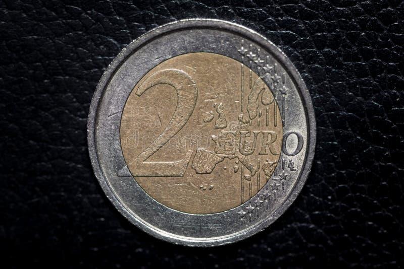 Pi?ce de monnaie de l'euro deux image libre de droits