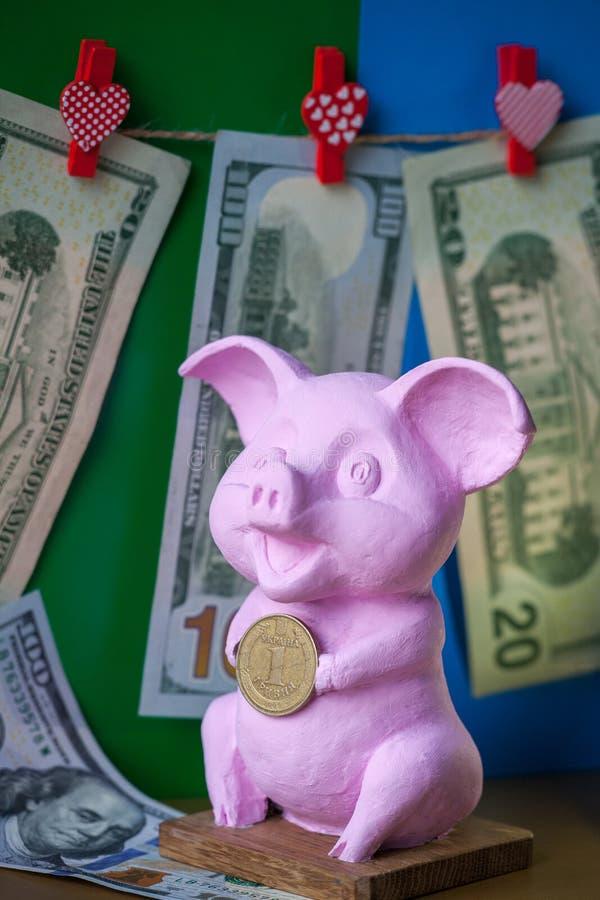 Pi?ce de monnaie rose de hryvna de participation de porc Porc avec la pi?ce de monnaie de hryvna sur le fond de dollars US de fon photographie stock libre de droits
