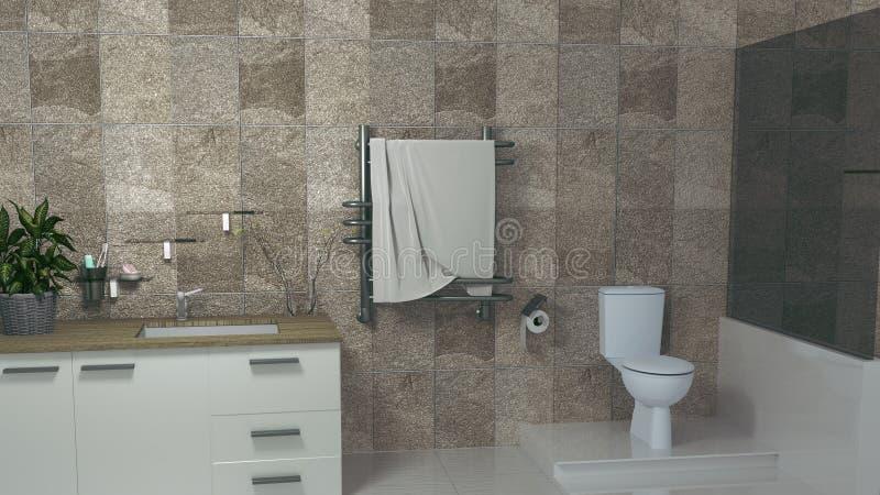 Pi?ce moderne de toilette rendu 3d illustration de vecteur