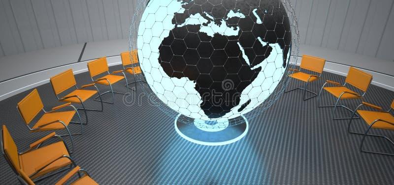 Pi?ce s'exer?ante futuriste de globe illustration de vecteur
