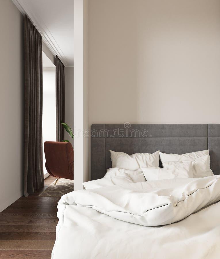 Pi?ce vide avec le lit oreillers, fauteuil et rideaux illustration de vecteur
