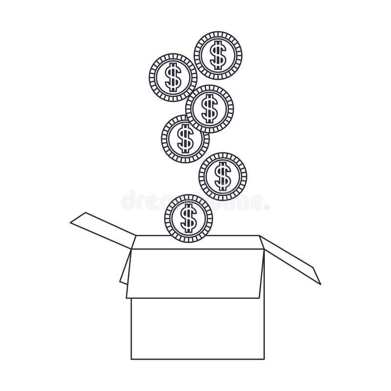 Pi?ces de monnaie tombant dans une ic?ne d'isolement de bo?te en carton illustration de vecteur