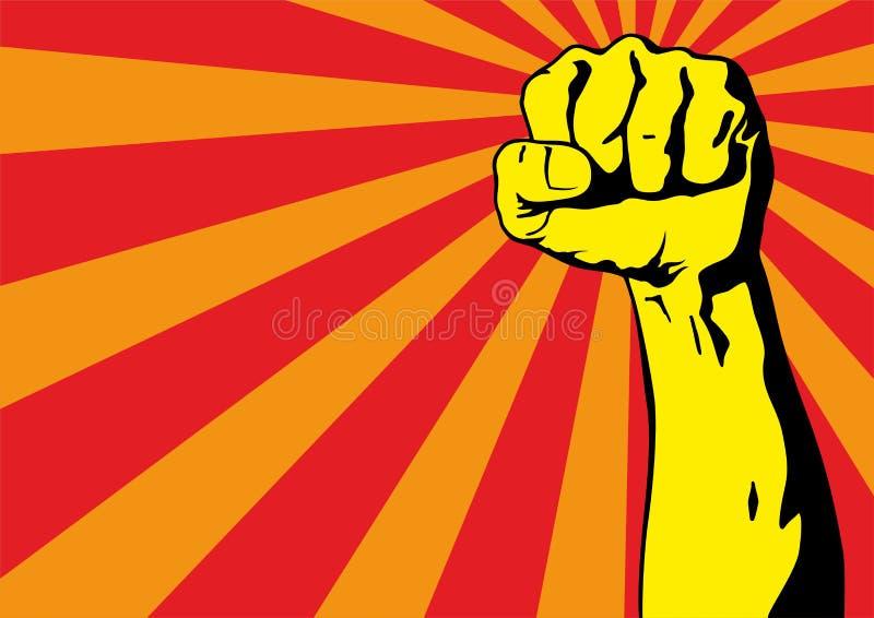 Pi??ci m?ska r?ka, proletariusza protestacyjny symbol Zaciskająca pięść trzymająca w protestacyjnym władza znaku ilustracji