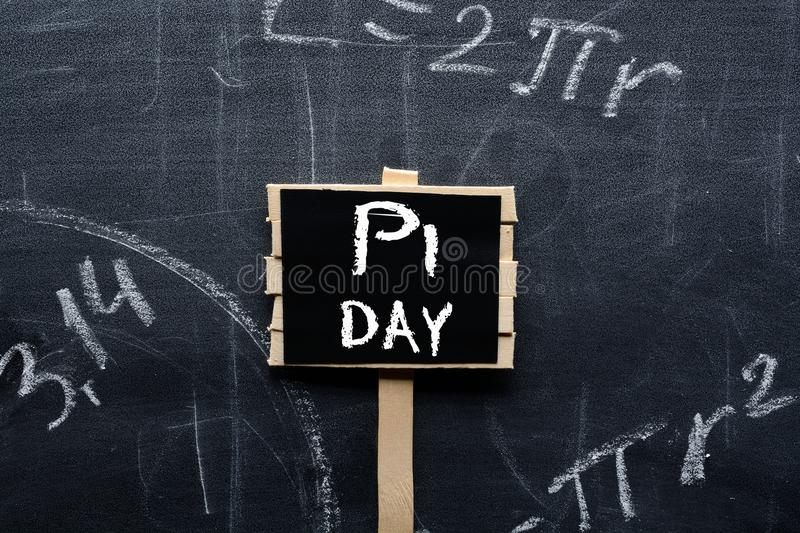 PI day sign on the school Board royalty free stock image