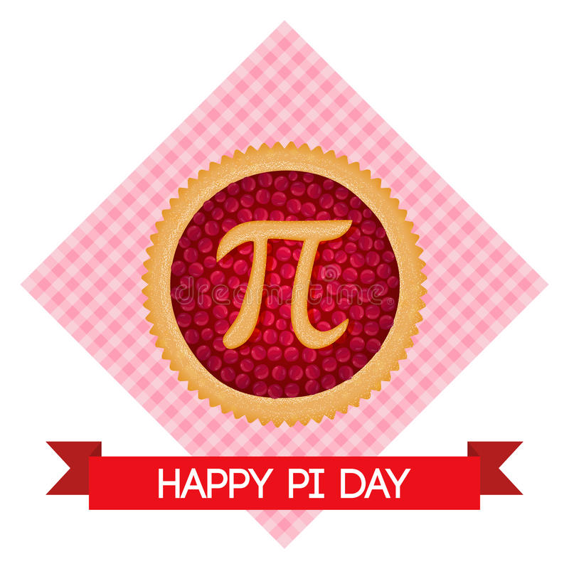 Pi Day Vector Background Baked Cherry Pie With Pi Symbol And Ribbon