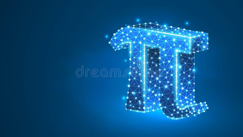 Pi, der Buchstabe eines griechischen Alphabets Griechische Zahlen, mathematisches Konzept Nummer achtzig Abstrakt, digital, draht stock abbildung