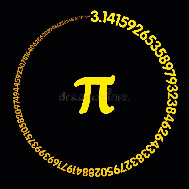 Pi dourado do número que forma um círculo ilustração do vetor