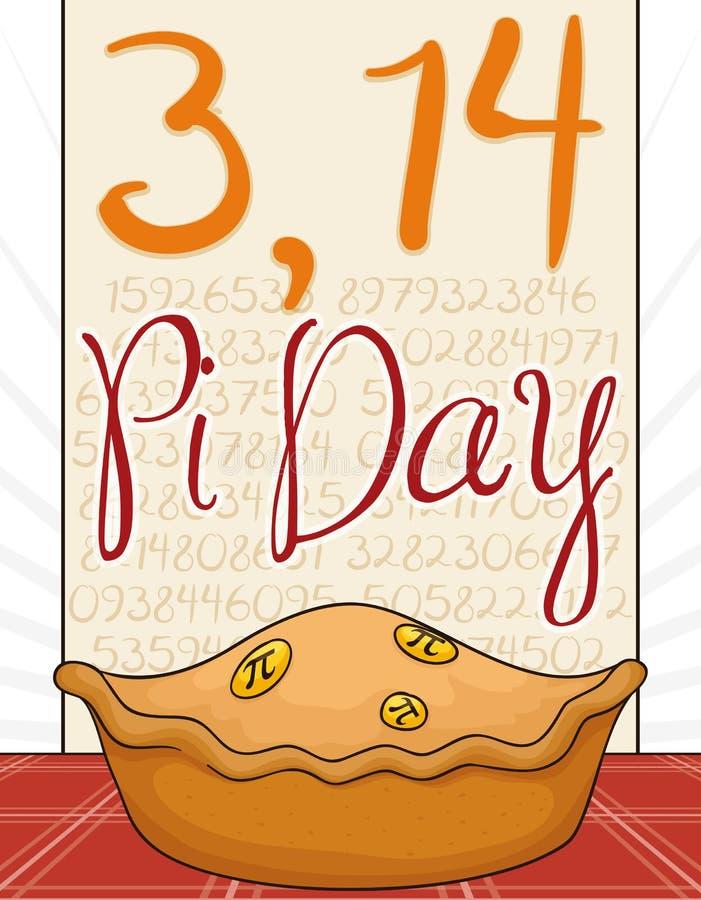 Pi dzień Świętujący z Wyśmienicie kulebiakiem i Pi symbolami, Wektorowa ilustracja ilustracja wektor