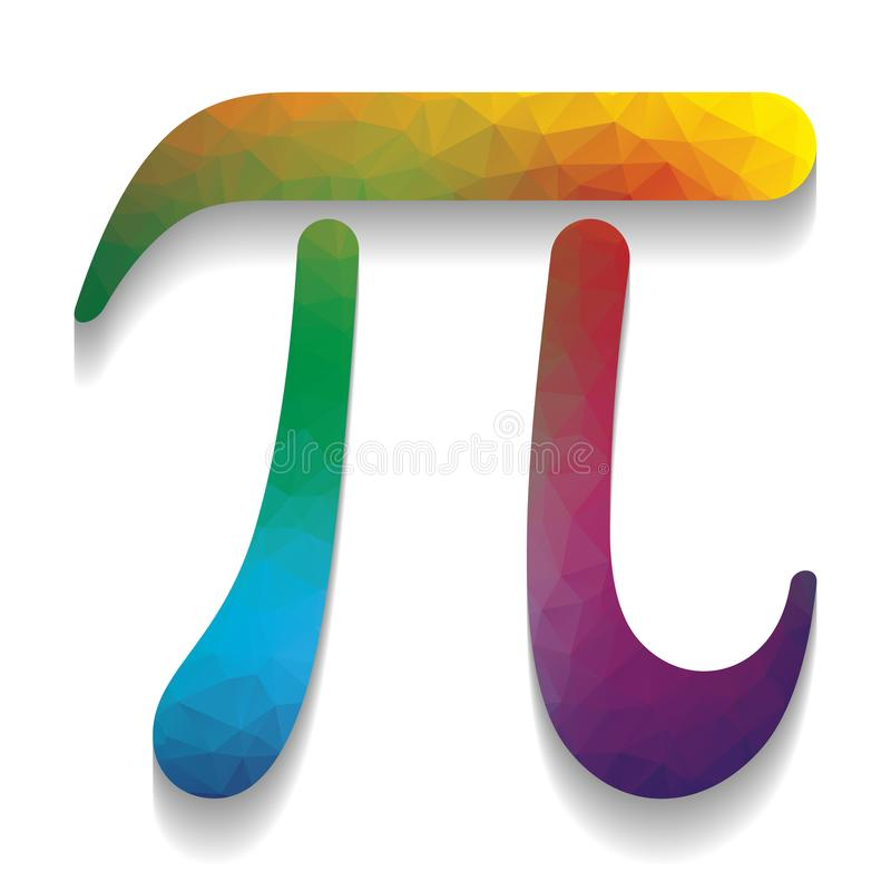 Pi greek letter sign. Vector. Colorful icon with bright texture stock illustration