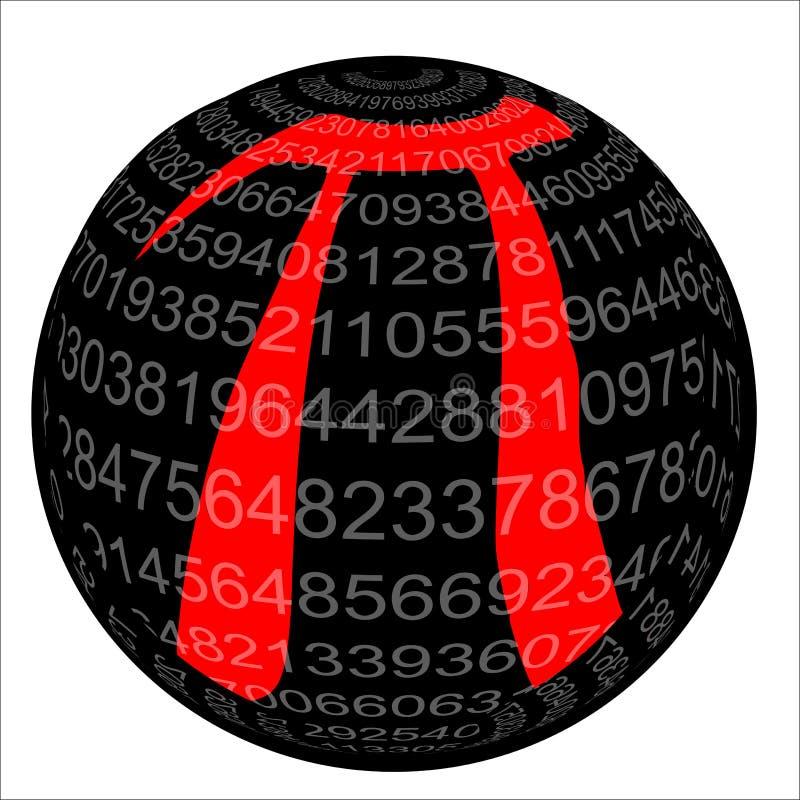 Pi isolerade sfären stock illustrationer
