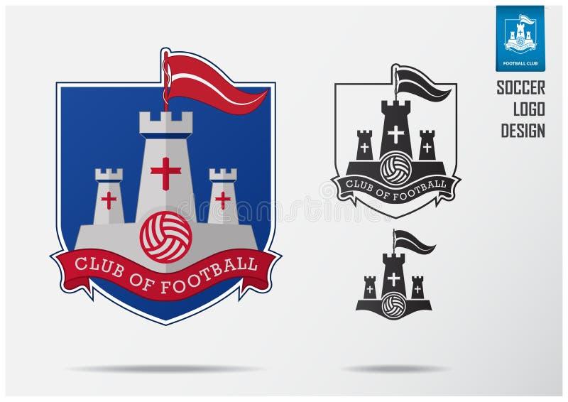 Pi?ka no?na logo lub futbol odznaki szablonu projekt dla dru?yny futbolowej Sporta emblemata projekt biała czerwona flaga na błęk ilustracja wektor