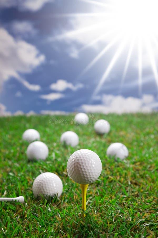 Piłki golfowe na trawie