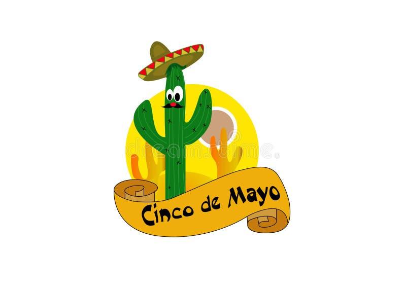 Pi?kna ilustracja z projektem dla Meksyka?skiego wakacje 5 mo?e Cinco De Mayo Wektorowy szablon z tradycyjnym meksykaninem ilustracja wektor
