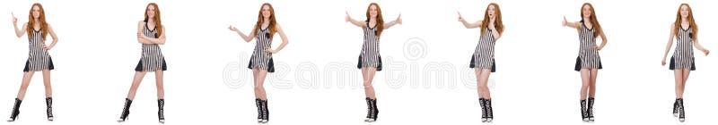 Pi?kna kobieta w pasiastej sukni zdjęcia stock