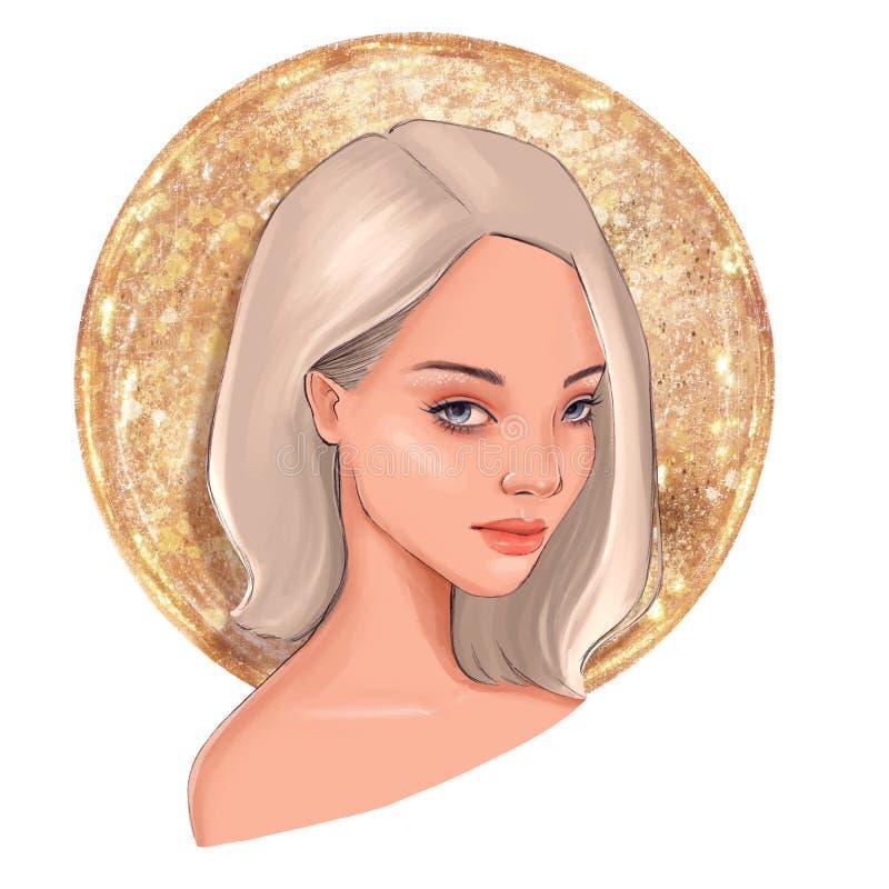 Pi?kna kobieta z blondynem ilustracja wektor