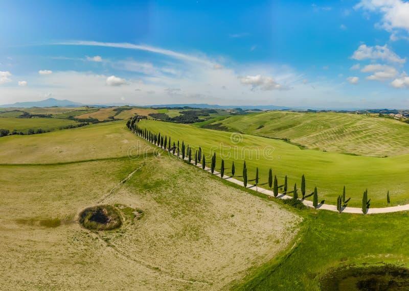 Pi?kna krajobrazowa sceneria Tuscany w W?ochy widok z lotu ptaka - blisko do Asciano, Tuscany, W?ochy - cyprysowi drzewa wzd?u? b zdjęcie stock