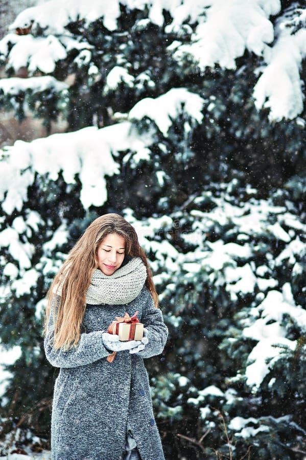 Pi?kna m?oda dziewczyna w zimy mienia lasowej dekoraci fotografia stock