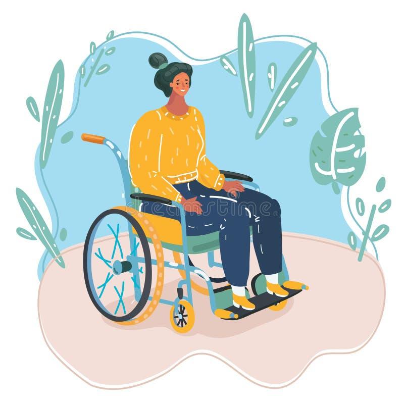 Pi?kna m?oda kobieta w w?zku inwalidzkim robi niekt?re pracuje na jej laptopie i cieszy? si? fili?ank? kawy w restauraci royalty ilustracja