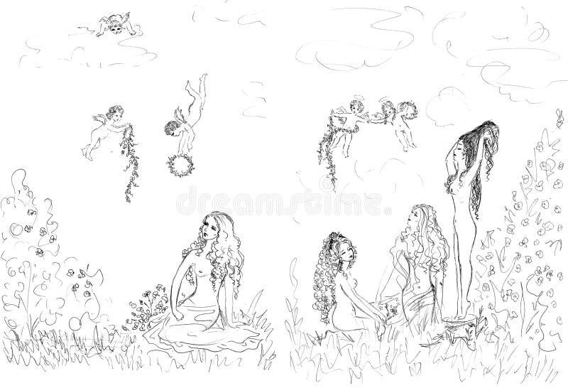 Download Piękne kobiety ilustracji. Obraz złożonej z drzewo, ołówek - 3736692