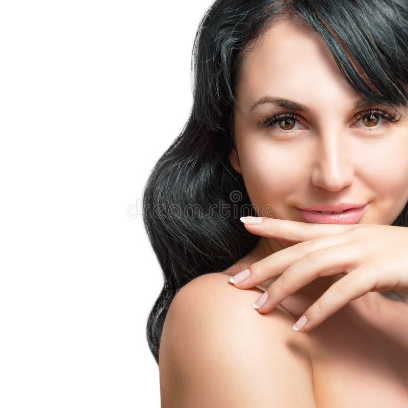 Download Piękne Portret Kobiety Young Obraz Stock - Obraz złożonej z brunetka, ręka: 53786011