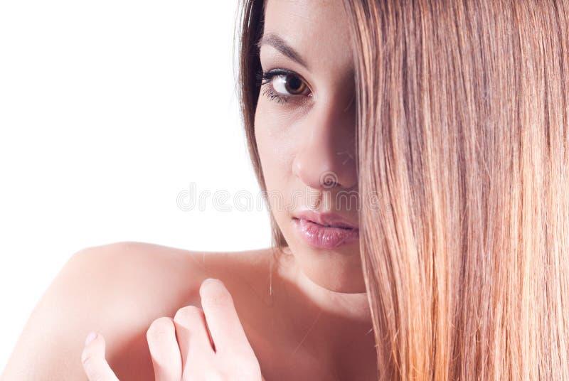 Pięknego Headshot Odosobneni Kobiety Potomstwa Zdjęcia Royalty Free