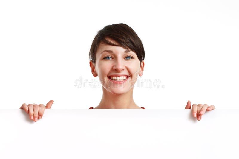 Download Pięknej Deski Pusty Dziewczyny Mienia Biel Zdjęcie Stock - Obraz złożonej z biznes, atrakcyjny: 13339696