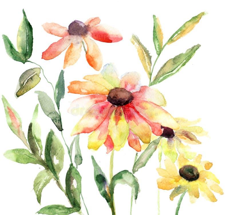 Download Piękni kwiaty ilustracji. Obraz złożonej z sztandar, okwitnięcie - 27155786