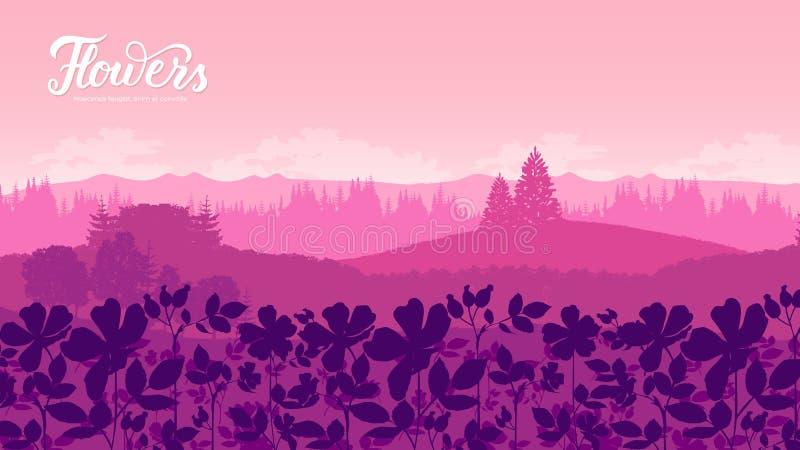Pi?kni kwiaty na zbocze g?ry ilustracji