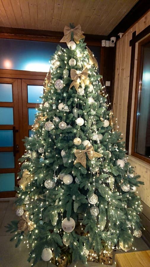 pi?knie bo?e narodzenia dekoruj?cy drzewo kolor t?a wakacje czerwonego ? zdjęcia royalty free