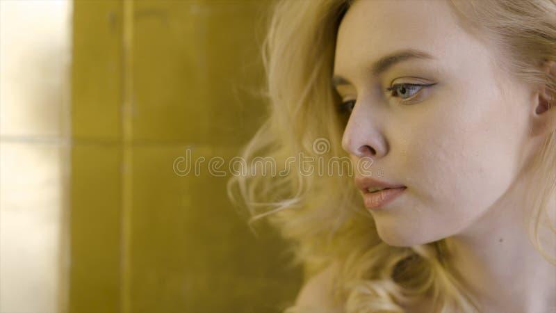 Pi?kny blondynki kobiety twarzy zako?czenie up akcja W górę twarzy piękna blondynki kobieta w słońcu zdjęcie stock