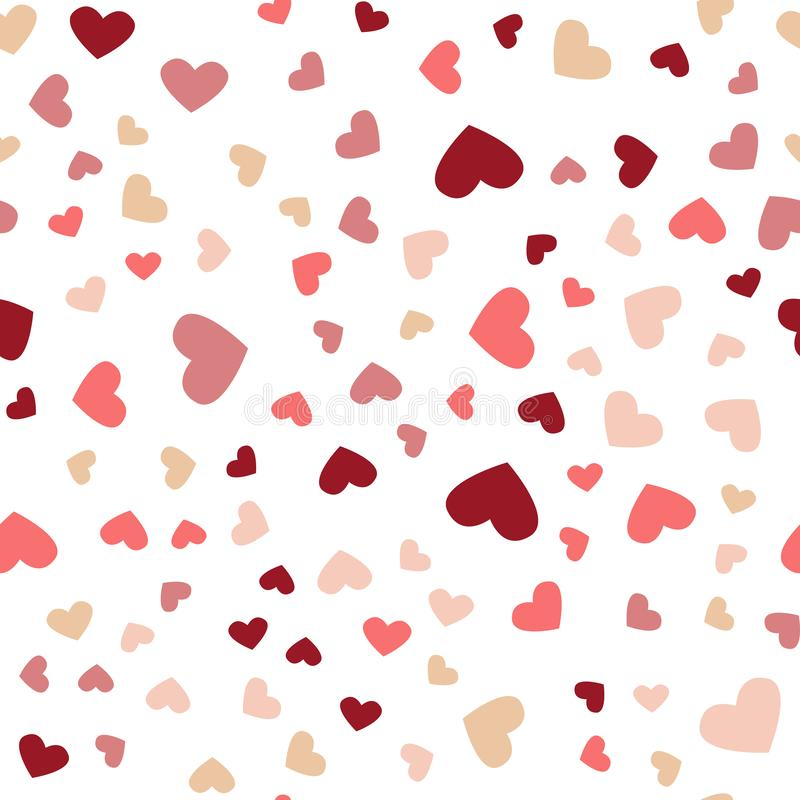 Pi?kny confetti serc Spada? Kartka z pozdrowieniami, plakat Barwioni kierowi confetti dla kobieta wakacji ilustracji
