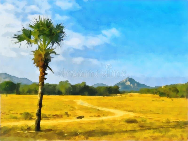 Pi?kny drzewko palmowe indu Podr??, turystyka banki target2394_1_ kwiatono?nego rzecznego drzew akwareli cewienie ilustracji