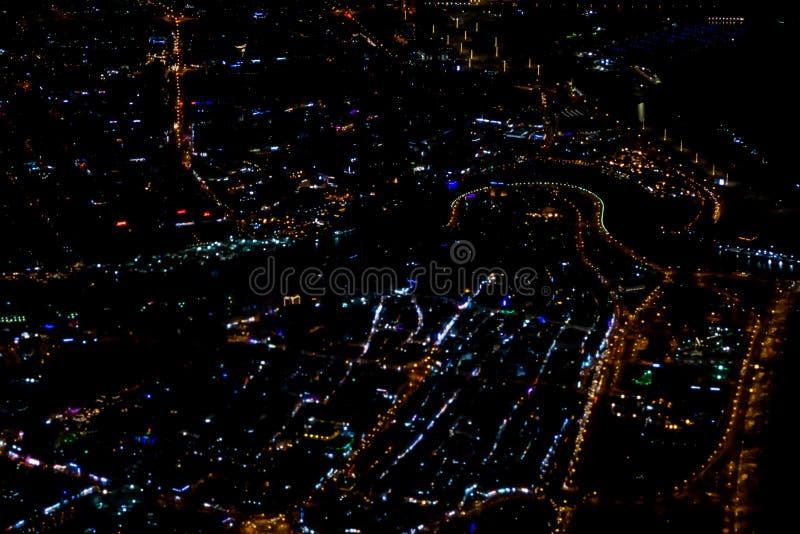 Pi?kny fotografia obrazek Istanbu? w nocy od samolotu ilustracja wektor
