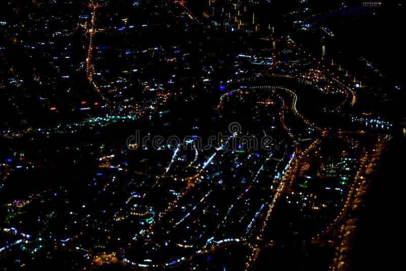 Pi?kny fotografia obrazek Istanbu? w nocy od samolotu royalty ilustracja