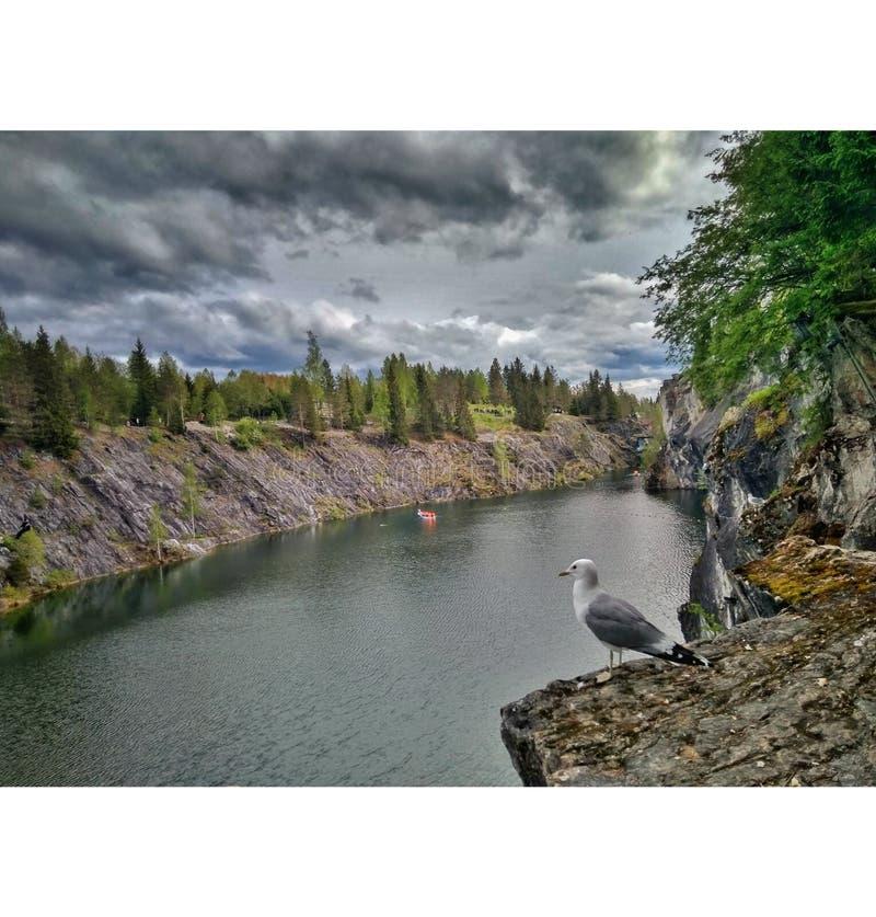 pi?kny jaru krajobrazu marmuru lato Karelia obraz stock