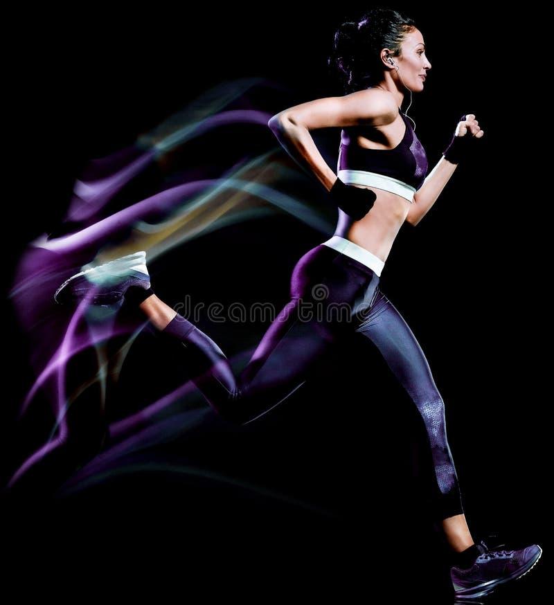 Pi?kny kobieta biegacza jogger jogging biegaj?cy odosobnionego czarnego t?o fotografia royalty free