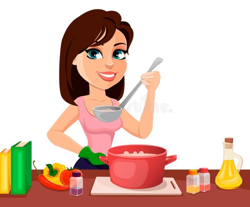 Pi?kny kobiety kucharstwo w jej kuchni royalty ilustracja