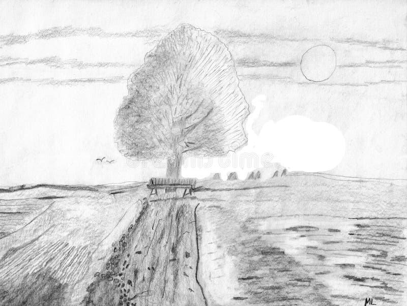 Download Piękny Krajobraz Z Drzewem I Polami Ilustracja Wektor - Ilustracja złożonej z rysujący, krajobraz: 106917387