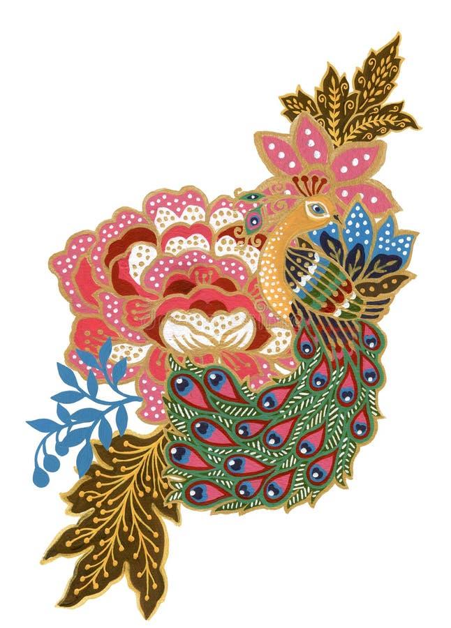 Pi?kny kwiat sztuki malezyjczyka i indonezyjczyk?w sarong?w bukieta sk?adu akwareli guaszu pawia ptasia Batikowa r?ka Maluj?ca ilustracji
