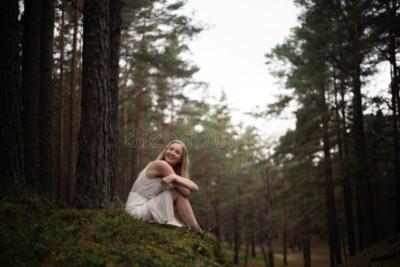 Pi?kny m?ody blondynki kobiety obsiadanie w lasowej bogince w biel sukni w wiecznozielonym drewnie obrazy royalty free