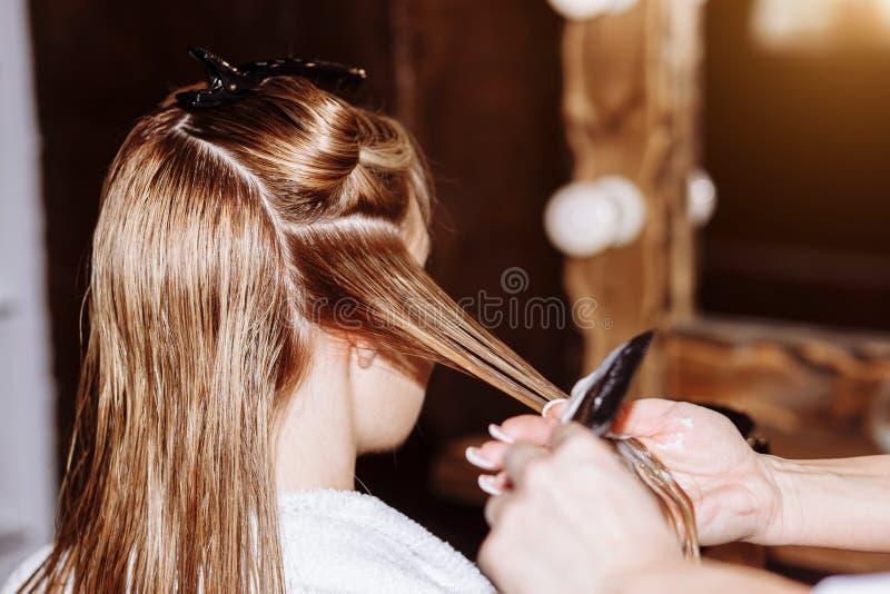 Pi?kny u?miechni?ty blond hairstylist z jej klientem w fryzjerze Opieka, zaw?d, kosmetologia, zdr?j, pi?kno salon obrazy royalty free