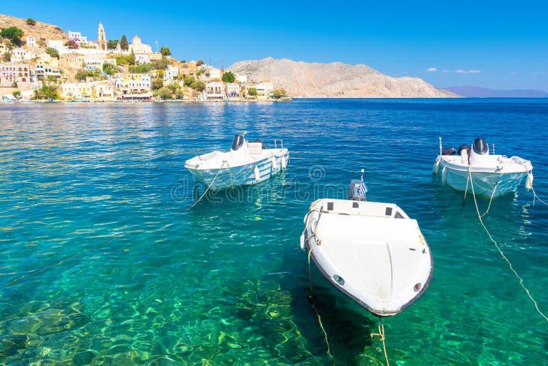 Pi?kny widok na Symi wyspie, Dodecanese, Grecja obrazy royalty free