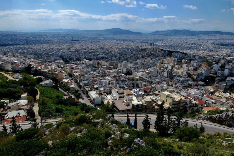 Pi?kny widok od wzrosta miasto w Grecja obraz stock